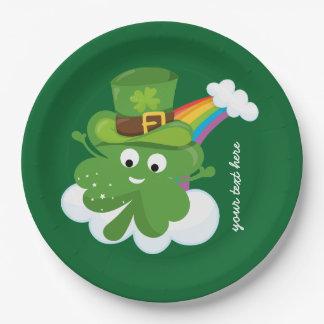 Trébol irlandés * elija su color de fondo plato de papel 22,86 cm