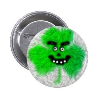 Trébol irlandés enojado pin redondo 5 cm