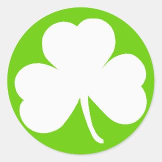 Trébol irlandés pegatina redonda