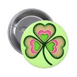 Trébol irlandés psicodélico pin redondo 5 cm