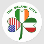 Trébol Italia los E.E.U.U. irlandesa Pegatina Redonda