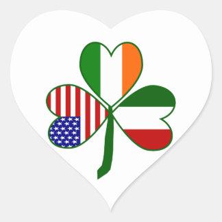 Trébol italiano pegatina corazón