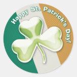 Trébol misterioso: ¡El día de St Patrick feliz! - Etiquetas Redondas