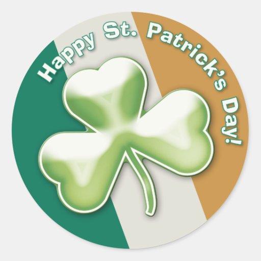 Trébol misterioso: ¡El día de St Patrick feliz! - Etiqueta Redonda