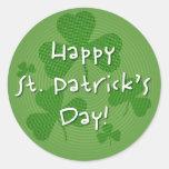 Trébol misterioso: ¡El día de St Patrick feliz! - Pegatinas Redondas