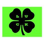 Trébol negro de la hoja de la SUERTE 4 en verde Postal