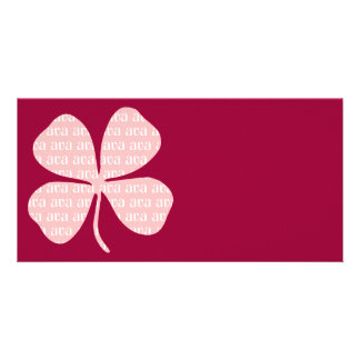 Trébol rosado afortunado irlandés Ava Tarjetas Fotograficas Personalizadas