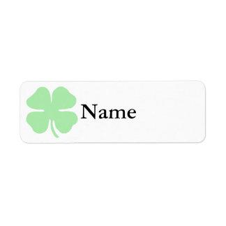 trébol verde claro shamrock.png de 4 hojas etiqueta de remite