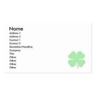 trébol verde claro shamrock.png de 4 hojas tarjetas de visita