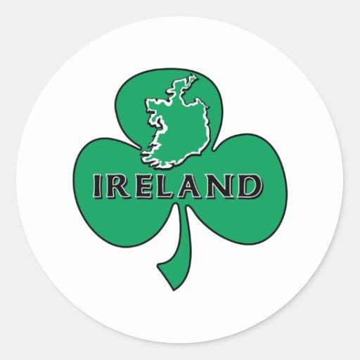 Trébol verde de Irlanda Pegatina Redonda