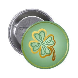 Trébol verde del oro de N - botón