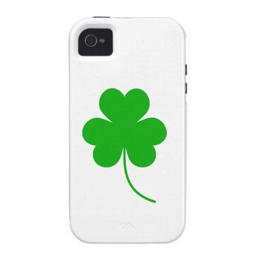 Trébol verde del trébol para el día de St Patrick Vibe iPhone 4 Carcasas