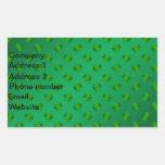 Trébol verde en fondo verde pegatina rectangular