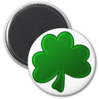 Trébol verde imán redondo 5 cm