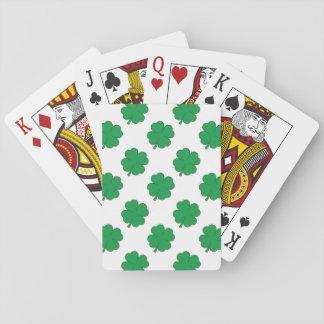 Trébol verde y blanco de Kelly, trébol 4-Leaf Barajas De Cartas