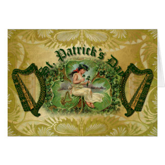 Trébol y bendición irlandesa de la arpa - tarjeta