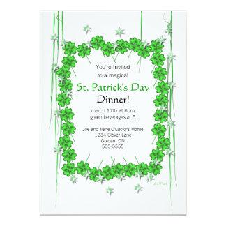 """Trébol y estrellas del día 4-Leaf de St Patrick Invitación 5"""" X 7"""""""