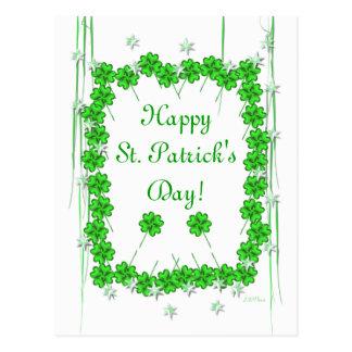 Trébol y estrellas del día de St Patrick Tarjetas Postales