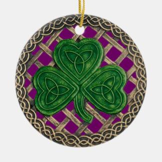 Trébol y púrpura céltica del ornamento de los ornamento para arbol de navidad