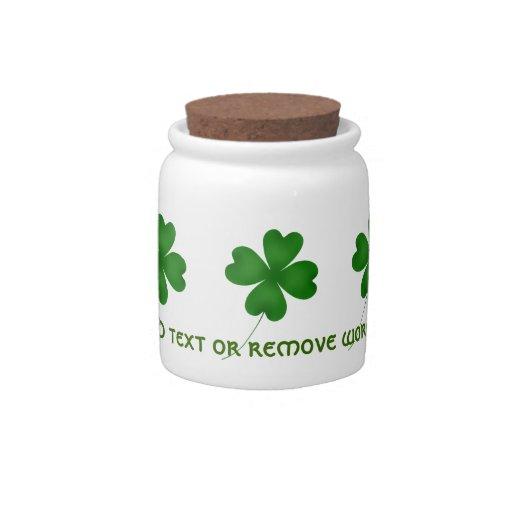 Tréboles afortunados del día de St Patrick lindo Jarra Para Caramelo