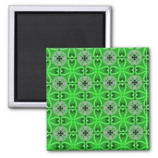 Tréboles de la hoja del verde cuatro imán cuadrado