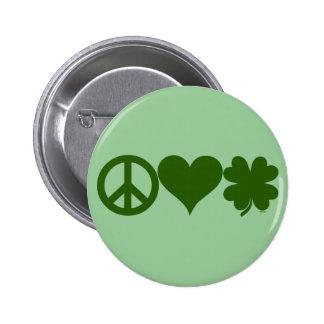 Tréboles del amor de la paz pins