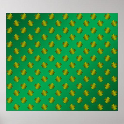 Tréboles del oro en verde impresiones