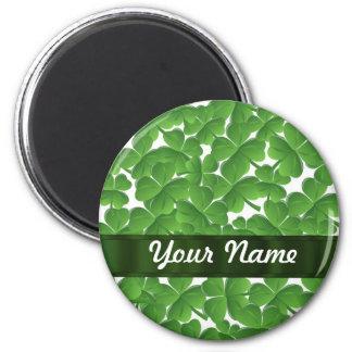 Tréboles irlandeses verdes personalizados imán redondo 5 cm