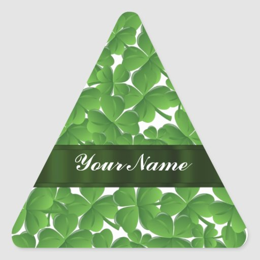 Tréboles irlandeses verdes personalizados pegatina triangular