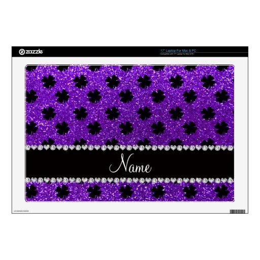 Tréboles púrpuras personalizados del brillo del añ portátil calcomanía