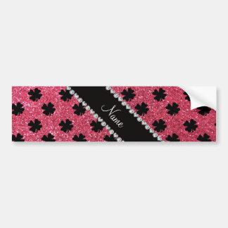 Tréboles rosados fucsias conocidos personalizados  etiqueta de parachoque