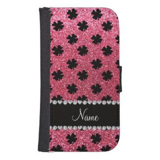 Tréboles rosados fucsias conocidos personalizados billetera para teléfono