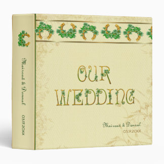 """Tréboles y álbum irlandés del boda del oro carpeta 1 1/2"""""""