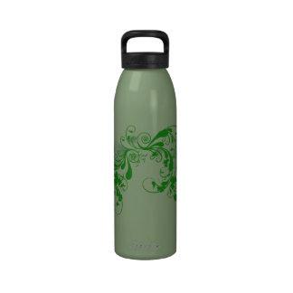 Tréboles y botella floral de la libertad botellas de beber
