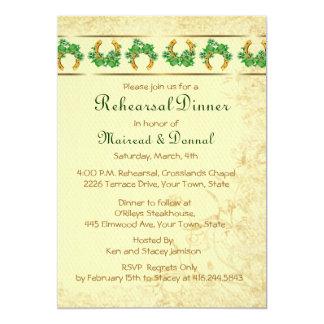 """Tréboles y cena irlandesa del ensayo del oro invitación 5"""" x 7"""""""