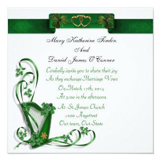 """Tréboles y cinta irlandeses de la arpa de la invitación 5.25"""" x 5.25"""""""