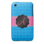 Tréboles y corazones azules del monograma iPhone 3 fundas