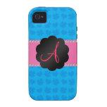 Tréboles y corazones azules del monograma iPhone 4 carcasas