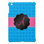 Tréboles y corazones azules del monograma iPad mini cárcasas