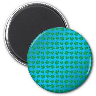 Tréboles y corazones del verde azul imán redondo 5 cm
