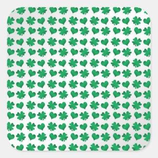 Tréboles y corazones verdes blancos colcomanias cuadradass