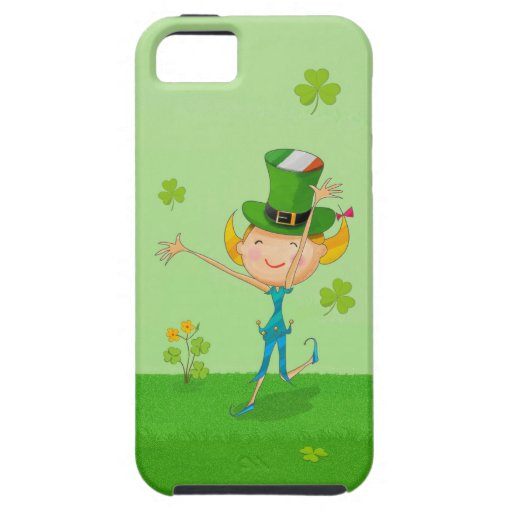 Tréboles y duendes verdes del trébol con el gorra  iPhone 5 Case-Mate fundas