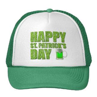Tréboles y el día de St Patrick feliz de la cervez Gorros