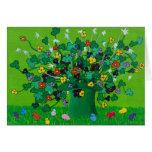 Tréboles y flores y polluelos tarjetón