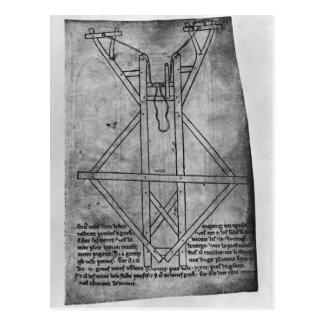 Trebuchet, machine to throw arrows postcard