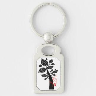 Tree 5 Arrow Silver-Colored Rectangular Metal Keychain