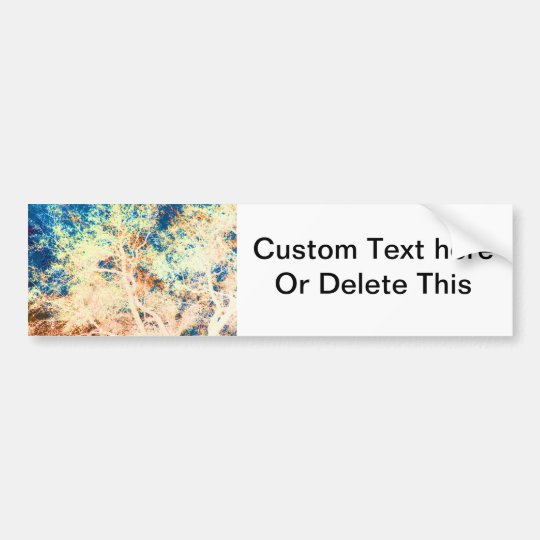 Tree abstract orange and blue background bumper sticker