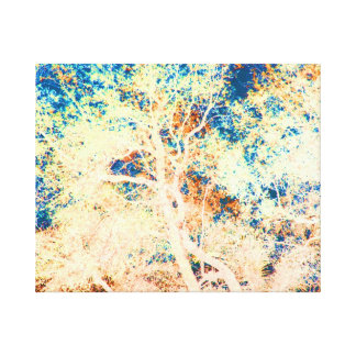Tree abstract orange and blue background canvas print
