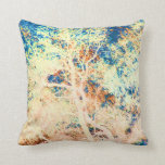 Tree abstract orange and blue background throw pillow