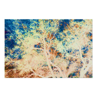 Tree abstract orange and blue background poster